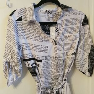 Black and White Text Dress
